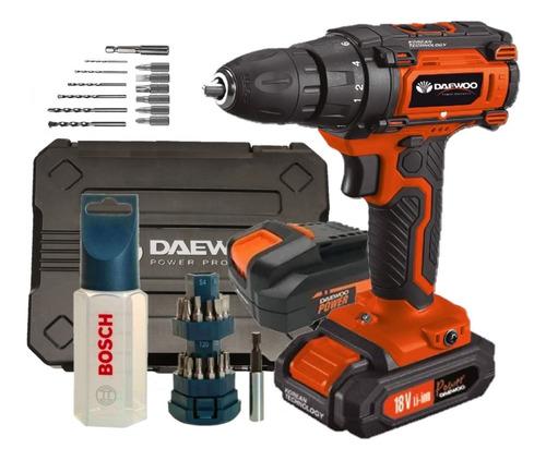 Taladro atornillador Daewoo inalambrico + kit Bosch mechas Y puntas + maletin + 2 baterias + cargador rapido 18v.