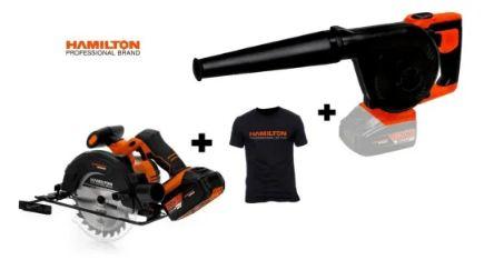 Soplador aspirador 20 V + Sierra circular Hamilton + Remera